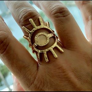 18k gold plated evil eye gold stacker size 7